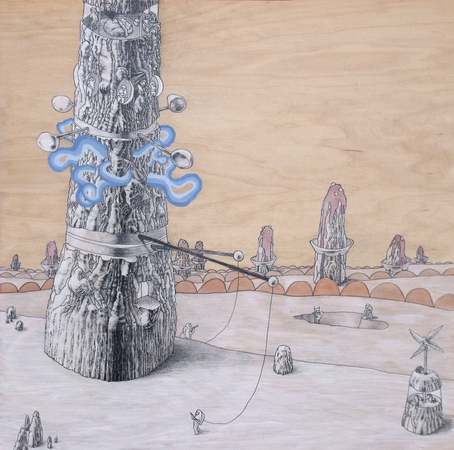 Medium_fit_brian_spolans_wind_generator_tower_2012_20x20_acrylic_pen_pencil_and_watercolor_on_panel