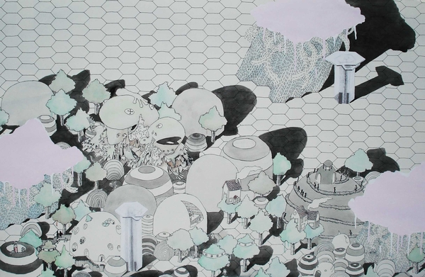 Medium_fit_brian_spolans_clouds_over_hills_2009_26x40_acrylic__pen_and_watercolor_on_paper
