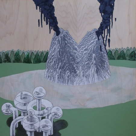 Medium_fit_brian_spolans_double_volcano_18x_18_pen_pencil_acrylic_and_watercolor_on_panel